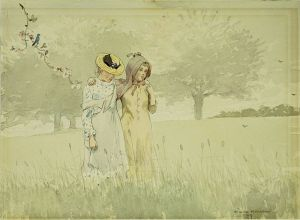 Winslow_Homer_-_Girls_strolling_in_an_Orchard